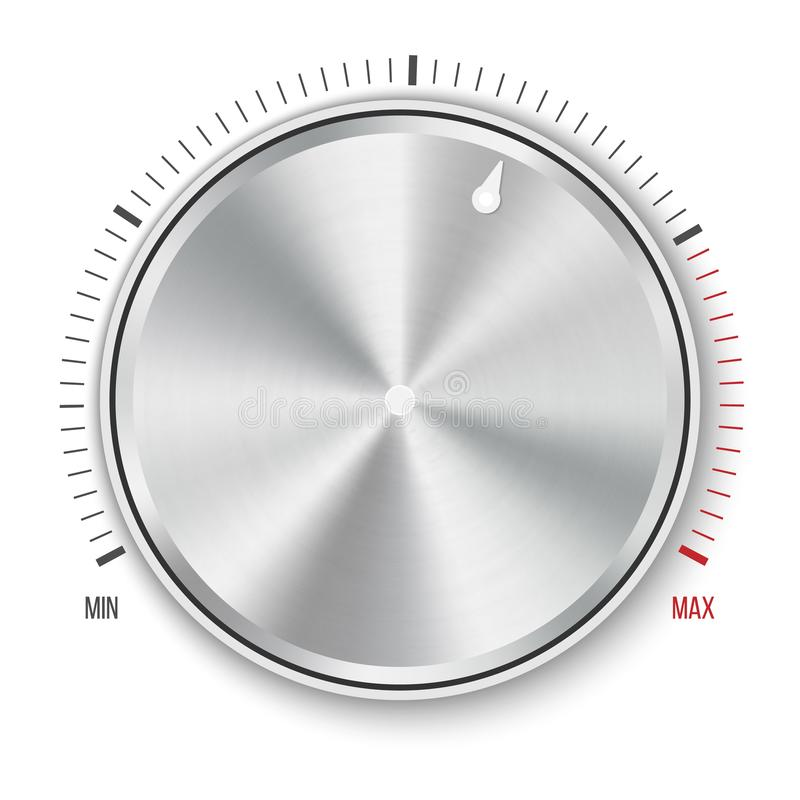 Creative illustration of dial knob level technology settings, music metal button with circular processing isolated on backg vector illustration