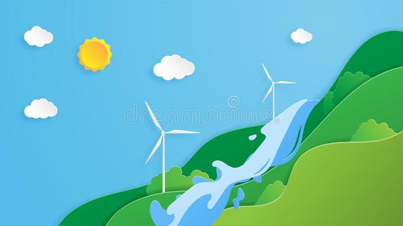 Creative illustration ecology and environment conservation concept in paper cut style. Green Eco energy system with nature. Landscape, waterfall and windmill stock illustration