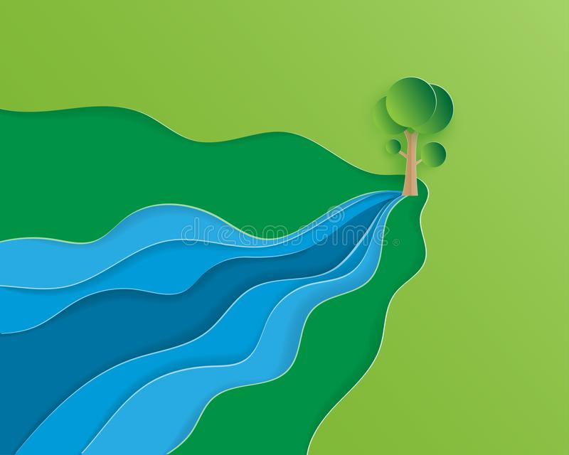Creative illustration ecology and environment conservation concept in paper cut style. Water flows out of the tree. Depicts the royalty free illustration