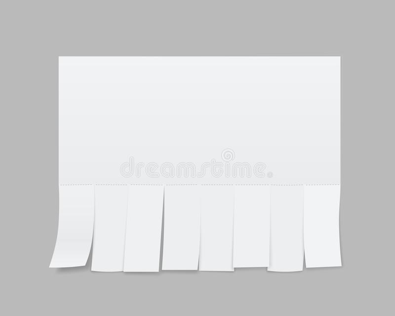 Creative illustration of empty blank sheet paper advertising with tear-off cut slips isolated on background. Street art design. Copy space template. Abstract vector illustration