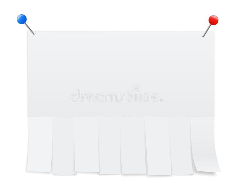 Creative illustration of empty blank sheet paper advertising with tear-off cut slips isolated on background. Street art design. Copy space template. Abstract stock illustration