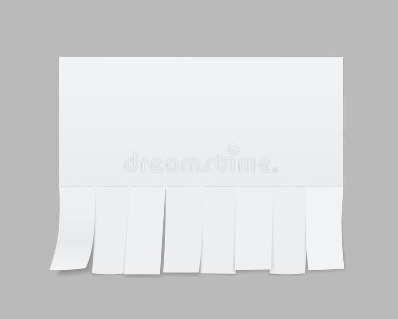 Creative illustration of empty blank sheet paper advertising with tear-off cut slips isolated on transparent background. St. Reet art design copy space template vector illustration