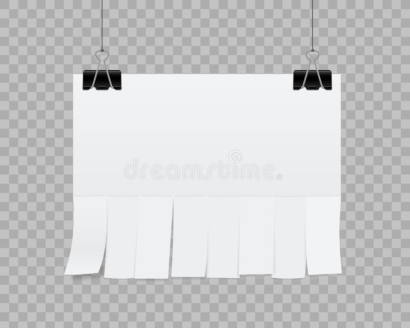 Creative illustration of empty blank sheet paper advertising with tear-off cut slips on transparent background. St. Reet art design copy space template. Abstract royalty free illustration