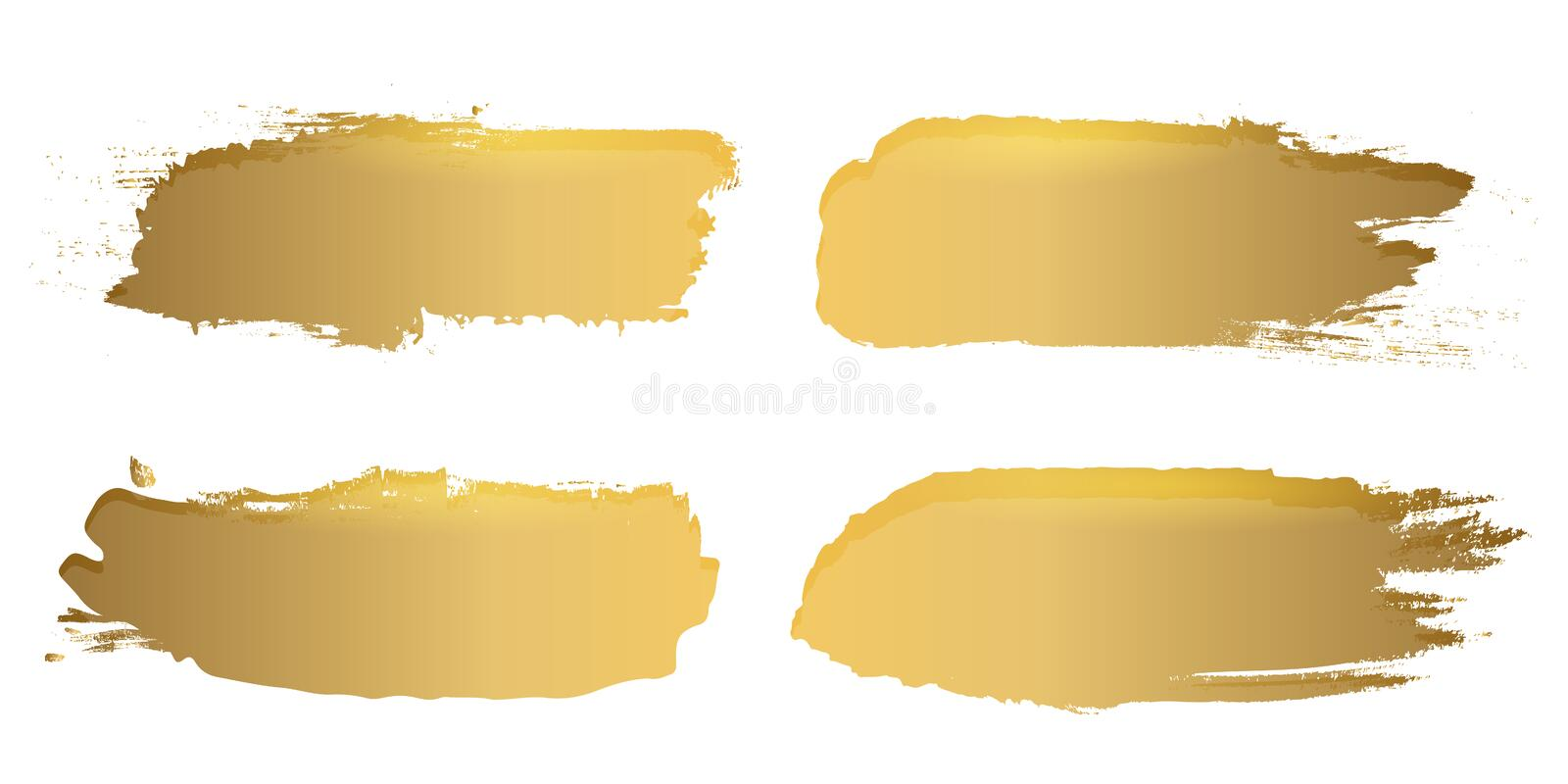 Creative illustration of grunge gold rough brush strokes isolated on background. Art design stains. Abstract concept graphic vector illustration