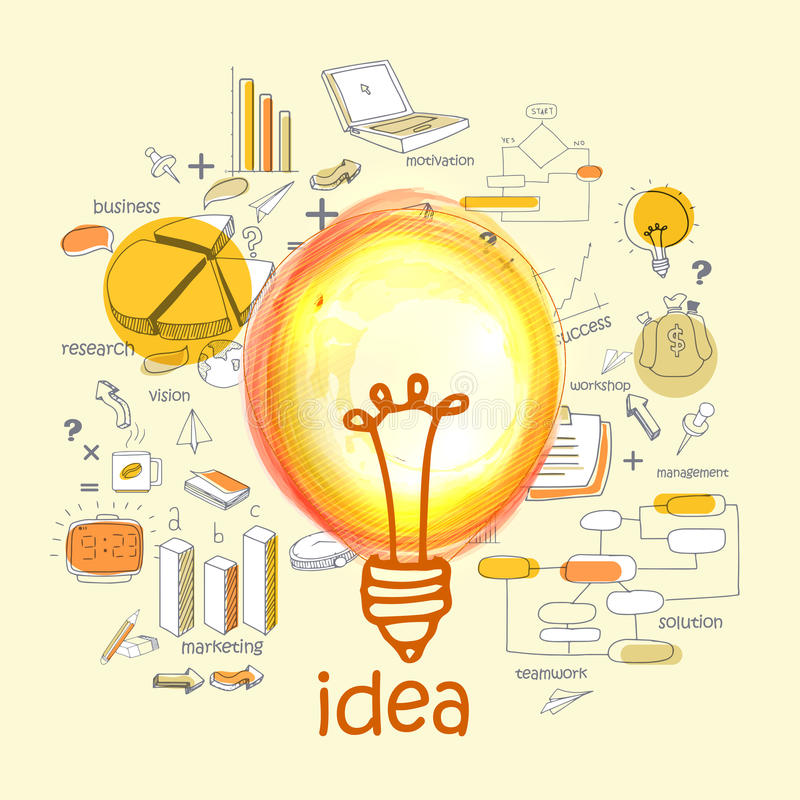Creative illustration for Idea concept. Creative various Idea infographic elements with bulb royalty free illustration