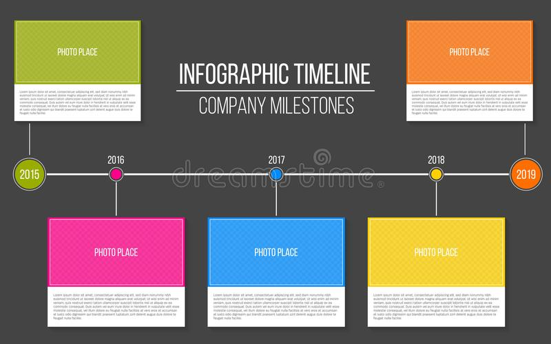 Creative illustration of infographic company milestones timeline template isolated on transparent background. Photo placeho. Lders. Art design. Abstract concept vector illustration