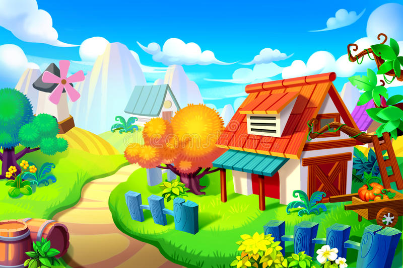 Creative Illustration and Innovative Art: Background Set: Peaceful Place in the Colorful Wonder Land. vector illustration