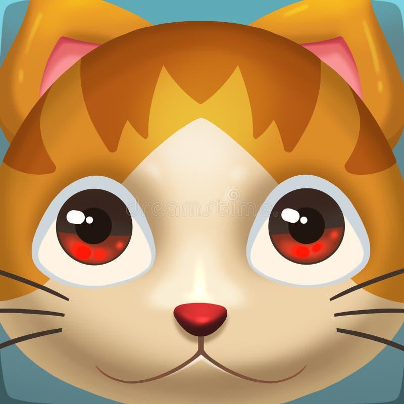 Creative Illustration and Innovative Art: Cat Face Icon. stock illustration