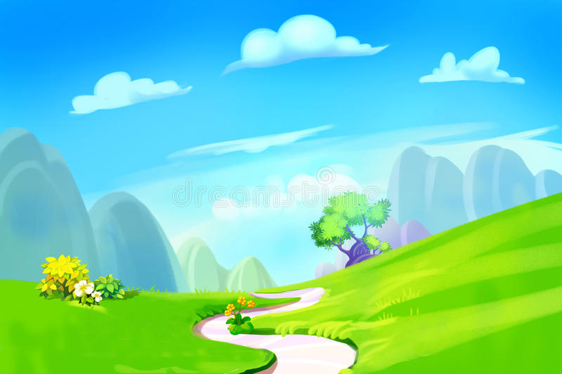 Creative Illustration and Innovative Art: Clean Green Hill with Road to the Mountain. stock illustration