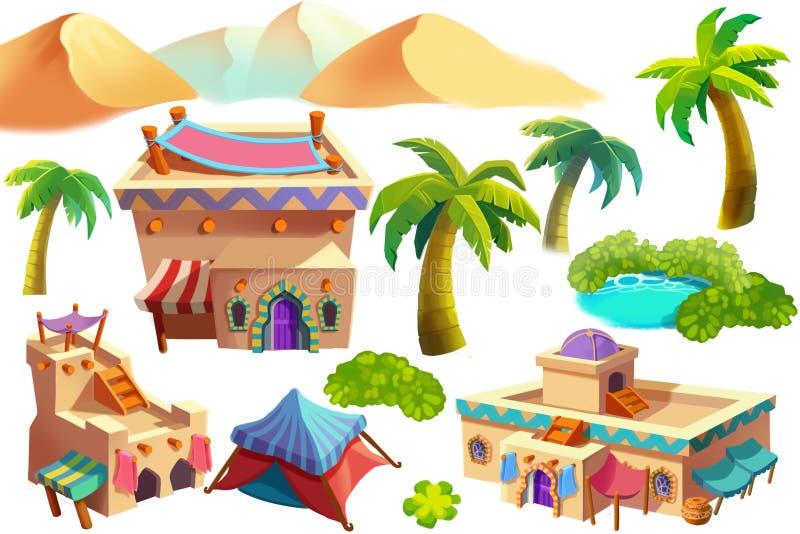 Creative Illustration and Innovative Art: Desert Scene Items isolated. On White Background. Realistic Fantastic Cartoon Style Artwork Scene, Wallpaper, Story vector illustration