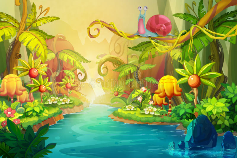 Creative Illustration and Innovative Art: Fairy River with Snail. vector illustration