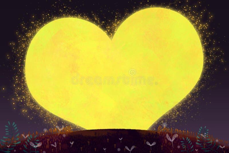 Creative Illustration and Innovative Art: Happy Valentine's Day, The Love Moon. stock illustration