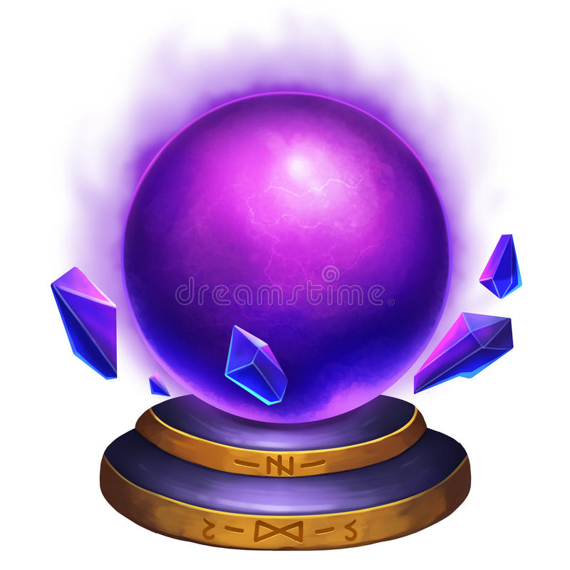 Creative Illustration and Innovative Art: Magical Crystal Ball with Mysterious Fire Flame. Realistic Fantastic Cartoon Style Artwork Scene, Wallpaper, Story royalty free illustration