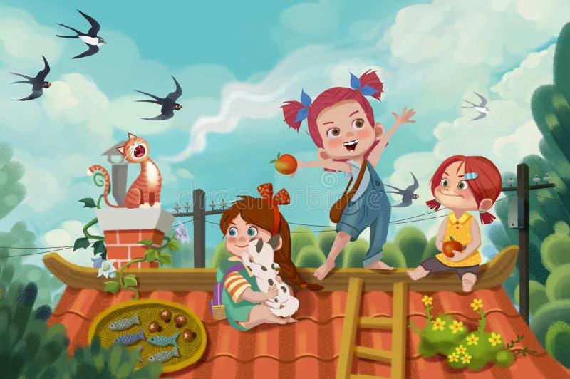 Creative Illustration and Innovative Art: Memory of Friendship. stock illustration