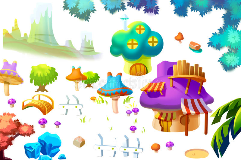 Creative Illustration and Innovative Art: Nature and Building Cartoon Items Set. 1. Realistic Fantastic Cartoon Style Artwork Scene, Wallpaper, Story Background royalty free illustration