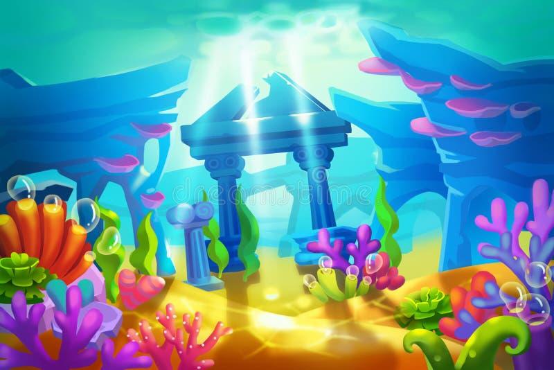 Creative Illustration and Innovative Art: Temple Ruins Under the Sea. Realistic Fantastic Cartoon Style Artwork Scene, Wallpaper, Story Background, Card Design stock illustration