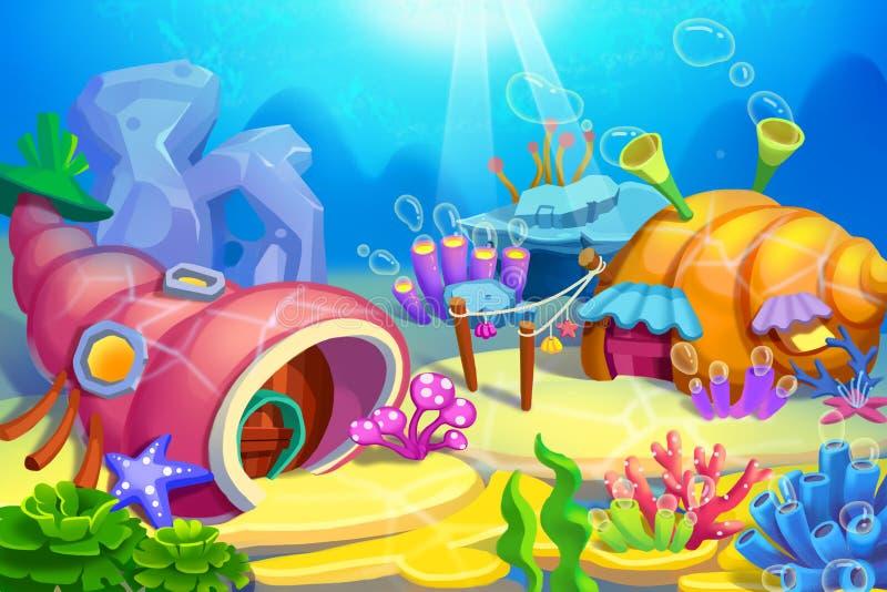 Creative Illustration and Innovative Art: Underwater Houses. Realistic Fantastic Cartoon Style Artwork Scene, Wallpaper, Story Background, Card Design vector illustration