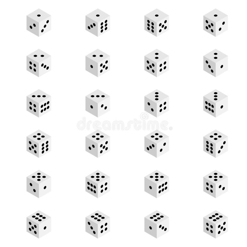 Creative illustration of isometric 3d gambling dice combination isolated on background. Art design game. Abstract concept graphic. Creative illustration of royalty free illustration