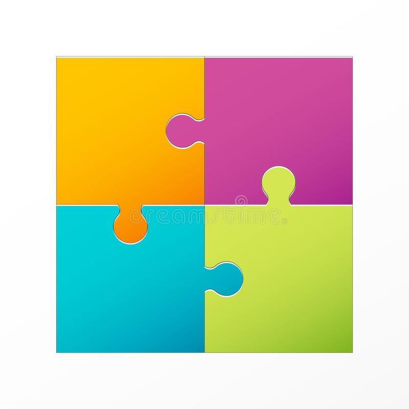 Creative illustration of jigsaw puzzle pieces background. Business concept art design blank mockup template. Abstract graphic royalty free illustration