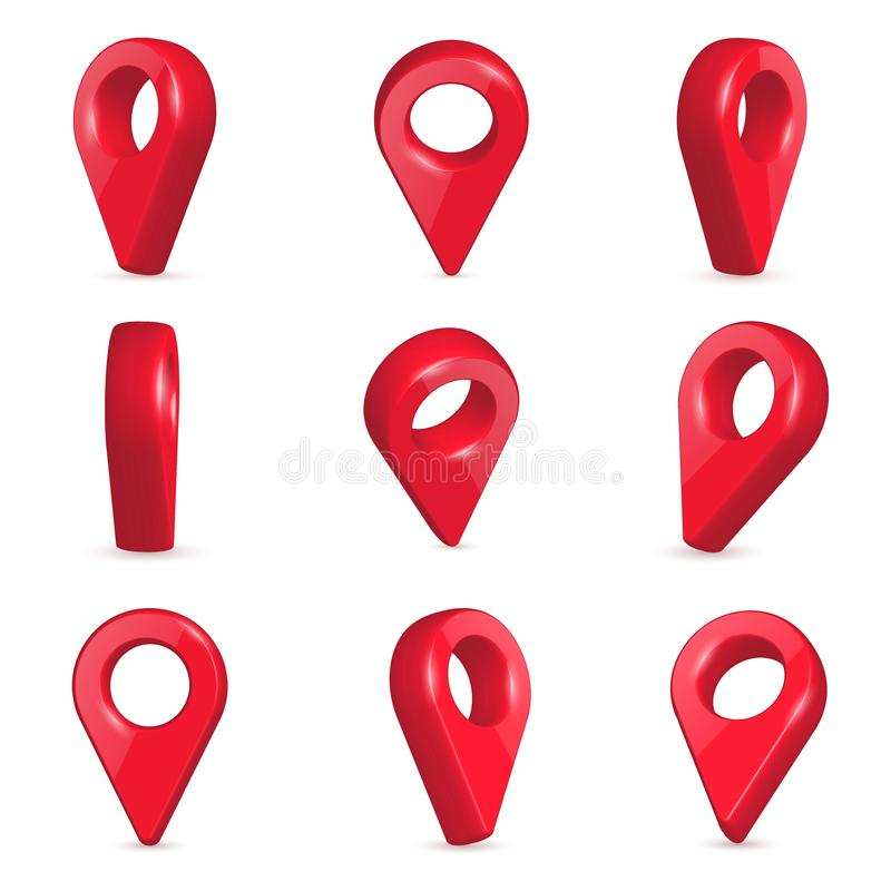 Creative illustration of locator, pin realistic 3d map pointers in various angle isolated on background. Art design location. Symbols template. Abstract concept royalty free illustration