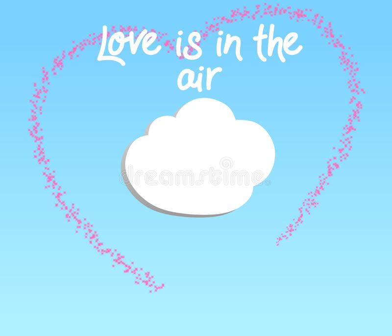 Creative illustration of Love is in the air on a gradient sky blue background. vector illustration