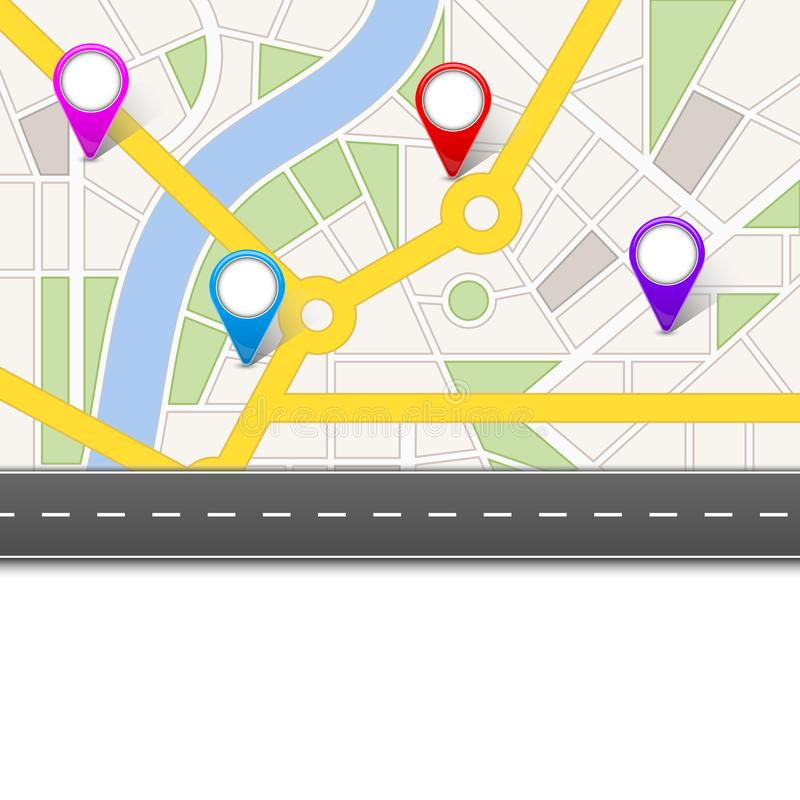 Creative illustration of map city. Street road infographic navigation with GPS pin markers and pointers. Art design. City route. And infrastructure. Abstract vector illustration