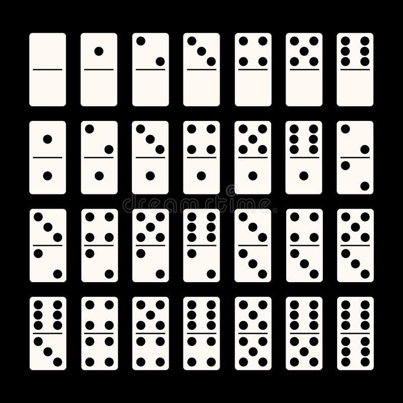 Free Creative Illustration Of Realistic Domino Full Set Isolated On Black Background. Dominoes Bones Art Design. Abstract Royalty Free Stock Photos - 159869338