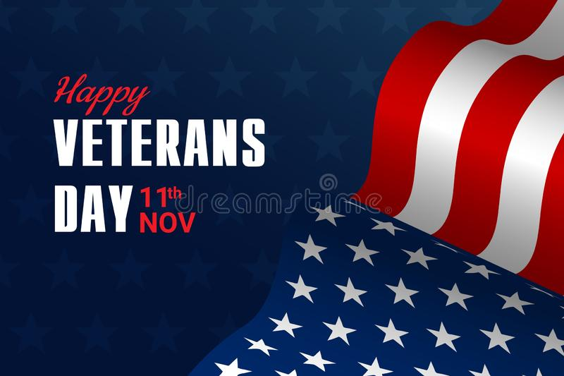 Creative vector illustration,poster or banner of happy veterans day with u.s.a flag and stars background royalty free stock images