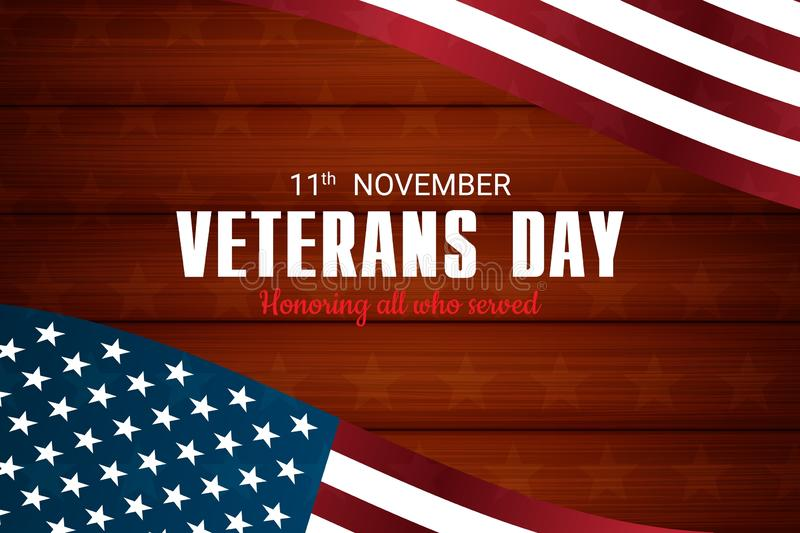 Creative vector illustration,poster or banner of happy veterans day with u.s.a flag and wood  background stock images