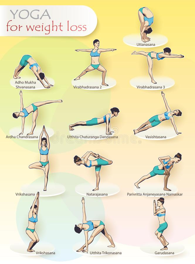 YOGA for weight loss stock illustration