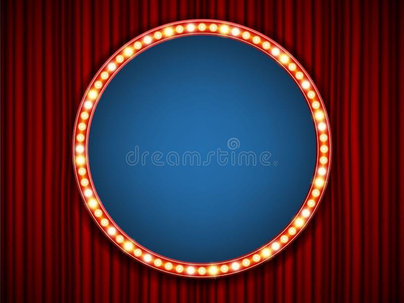 Creative illustration of retro light bulb frame set on transparent background. Art design shiny banner decoration royalty free illustration