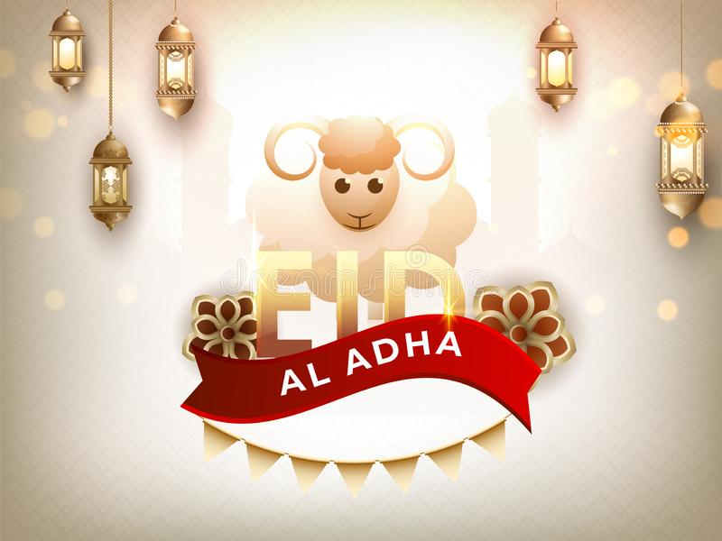 Creative illustration of Sheep with calligraphy text Eid-Al-Adha on Mosque. stock illustration