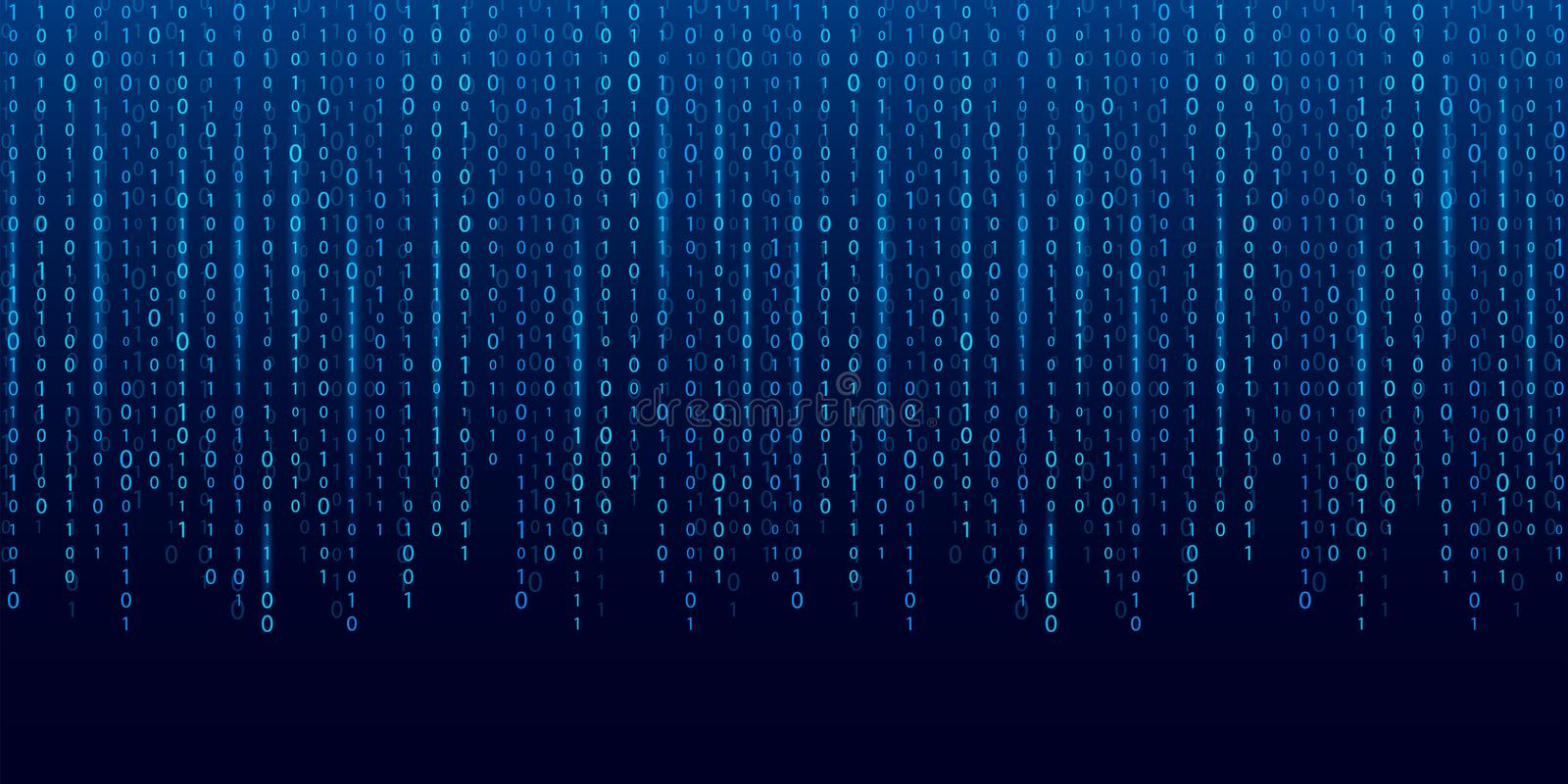Creative illustration of stream of binary code. Computer matrix background art design. Digits on screen. Abstract concept graphic stock photo