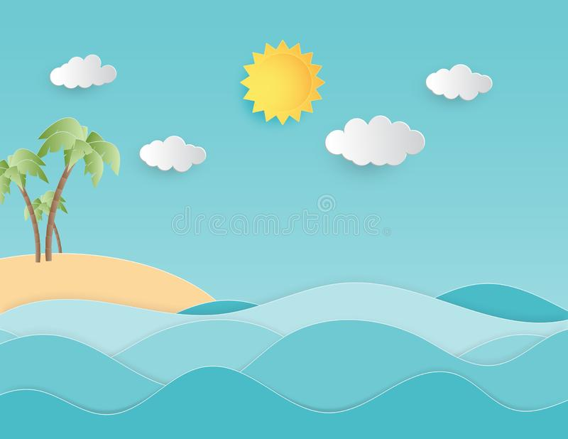 Creative illustration summer background concept paper cut style with landscape of sea wave and beach with palm tree royalty free illustration