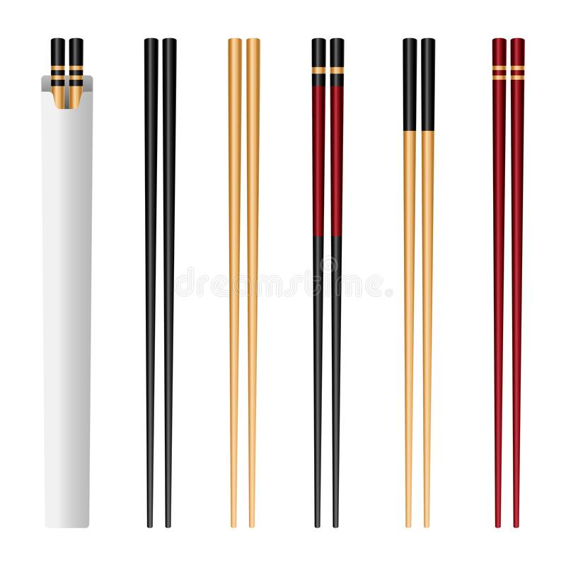 Creative illustration of sushi food chopsticks set with soy sauce isolated on background. Art design traditional asian bamboo stock illustration