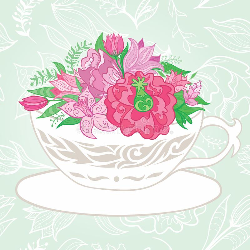 Creative Illustration with Teacup Full of Flowers stock illustration