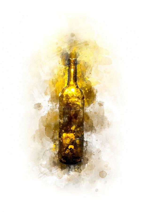Creative Illustration - Wine Bottle - - Digital Watercolor Painting. An artistic digital water color painting of a wine bottle vector illustration