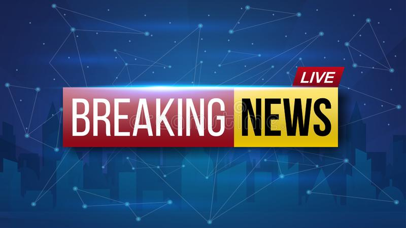 Creative illustration of world live breaking news. TV channel show broadcast art design. Business, technology background. Abstract. Concept graphic element royalty free illustration