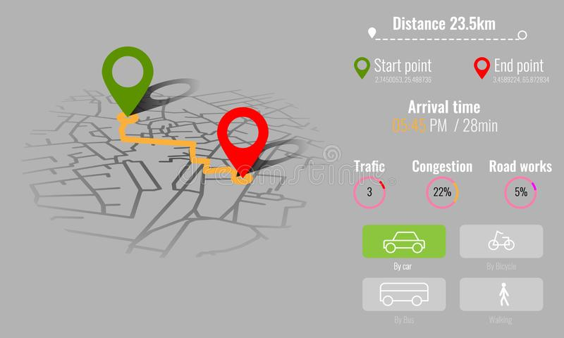 Creative infographic city map navigation for your dashboard concept design. Top and day time view. Vector illustration. Creative infographic city map navigation stock illustration