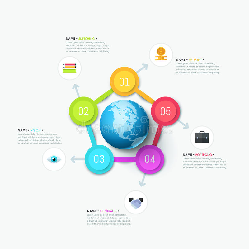 Creative infographic design layout. Planet surrounded by 5 round elements stock illustration