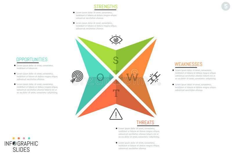 Creative infographic design layout, 4 triangular arrows with letters, icons and text boxes royalty free illustration