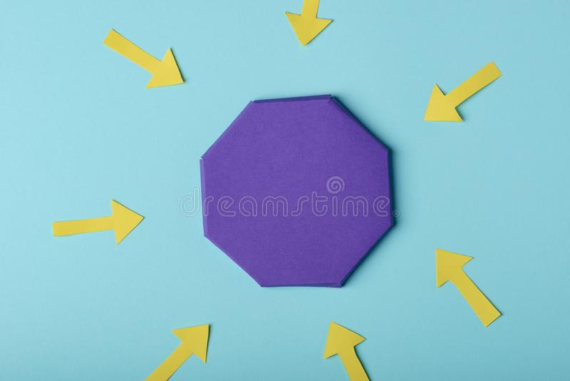 Creative infographic design template. Arrows pointing at the target, colorful paper art stock photos