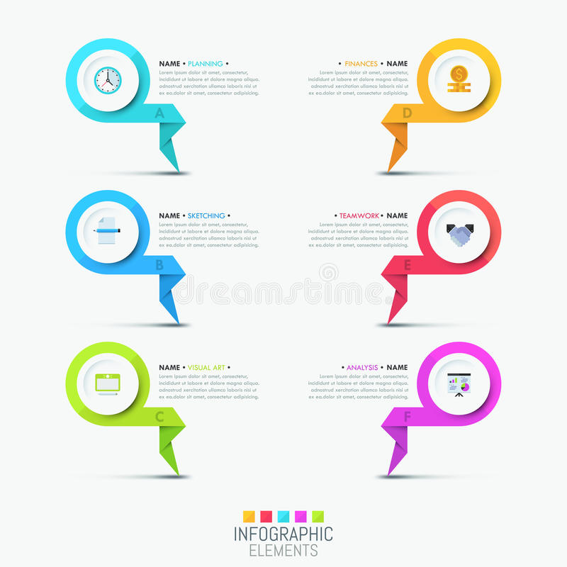 Creative infographic design template - 6 multicolored lettered elements. With pictograms and text boxes. List of company`s features concept. Vector illustration vector illustration