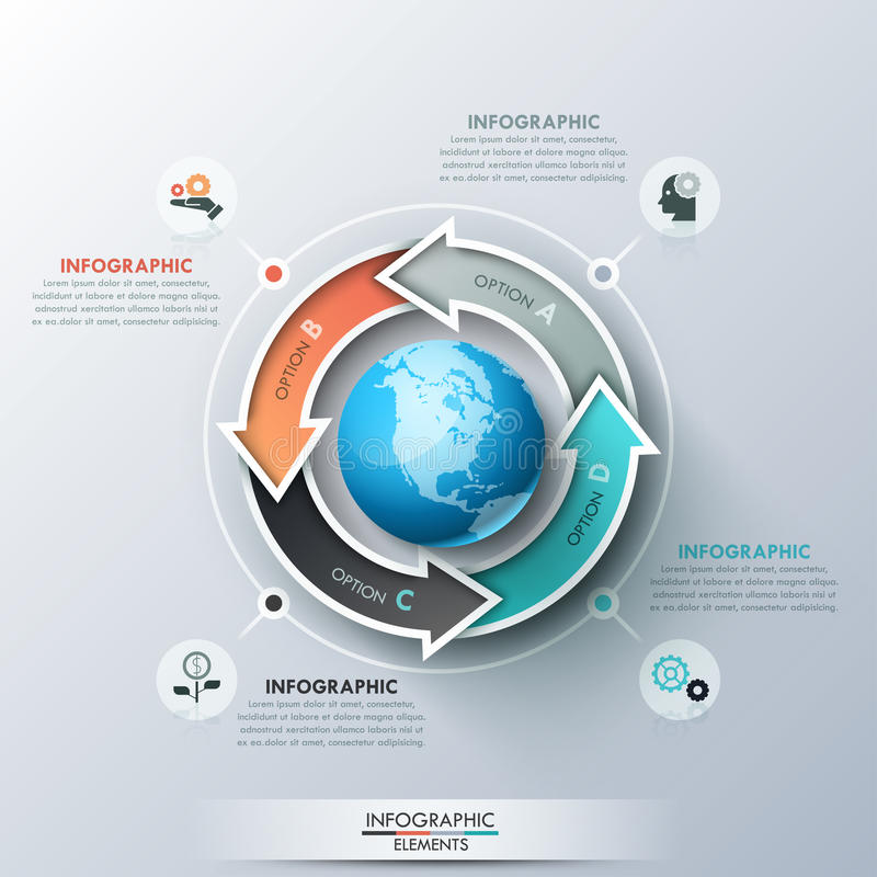 Free Creative Infographic Design Template With 4 Multicolored Arrows Placed Around Globe, Pictograms And Text Boxes Stock Images - 97627004