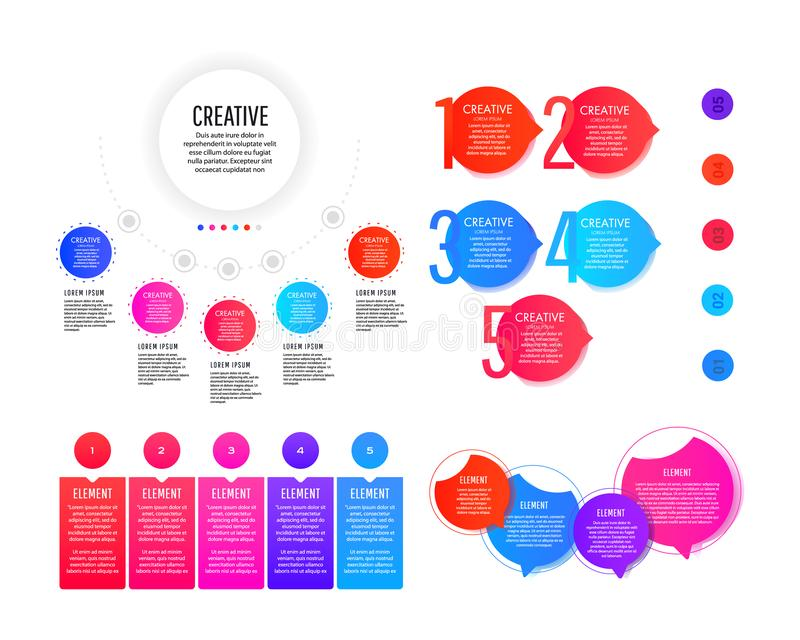 Creative infographic template with colorful round elements, pointers and text fields stock images