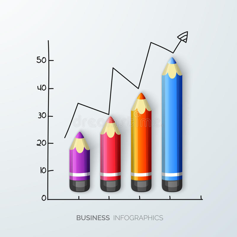 Creative infographics for business. Creative infographic made by color pencil showing business growth stock illustration