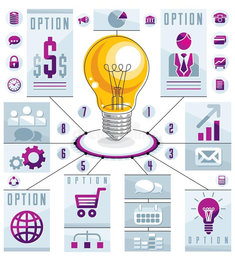Creative infographics elements, bright idea light bulb, vector i. Llustration royalty free illustration