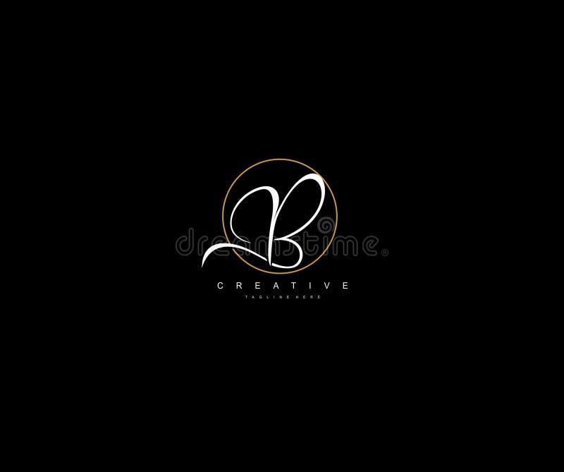 Creative Initial B Letter Gold Line Manual Elegant Minimalist Signature Logo royalty free illustration