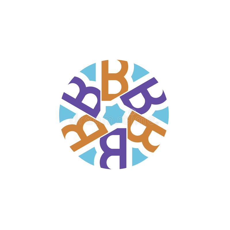 Creative initial letter b with circle logo stock illustration