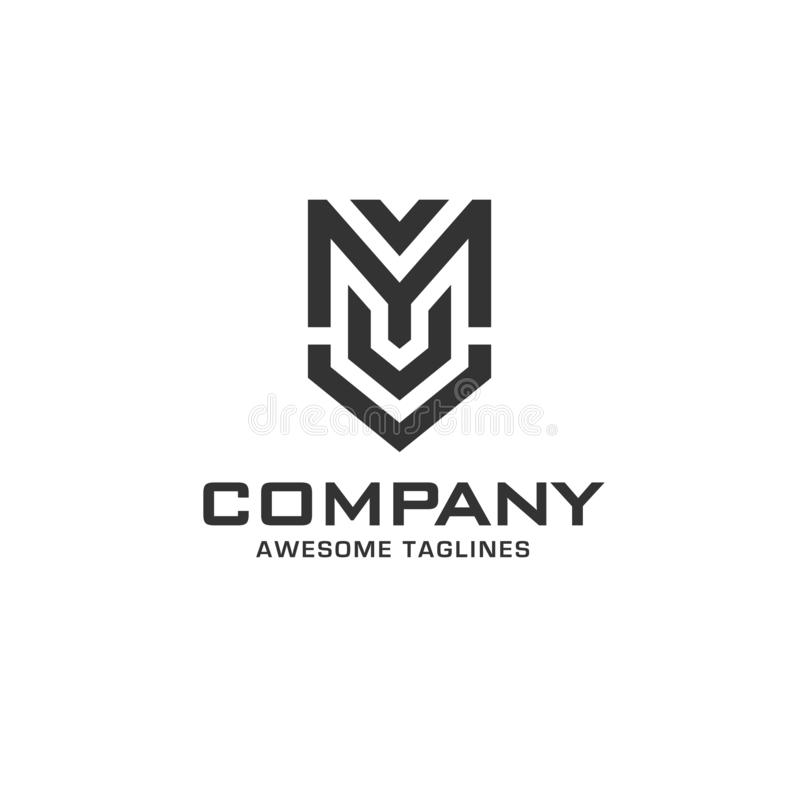 Creative initial letter m with shield logo vector illustration